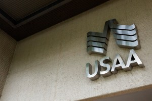 The USAA logo at the USAA headquarters in San Antonio, Texas. Photo by Scott Ball.