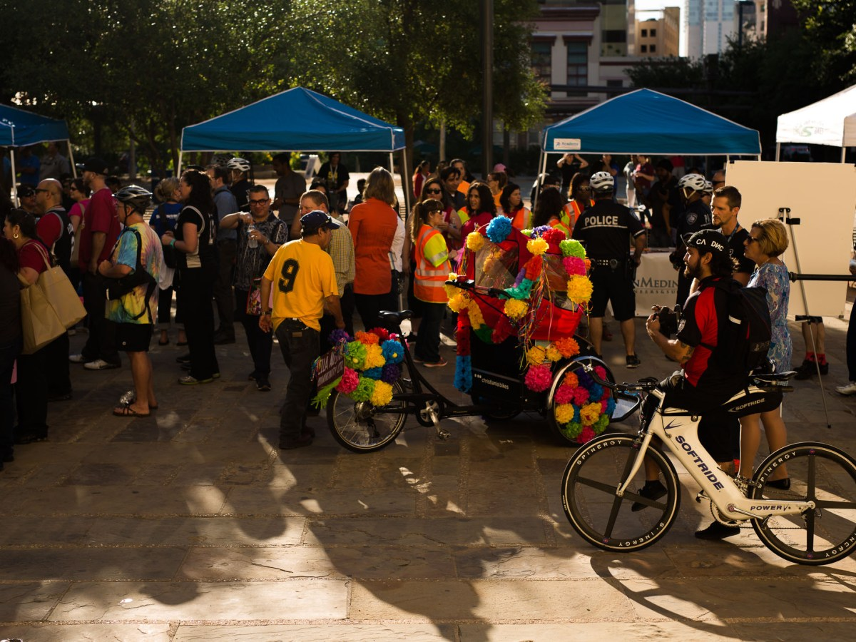 Over a hundred cyclists congregated at Main Plaza for Walk & Roll. Photo by Scott Ball.