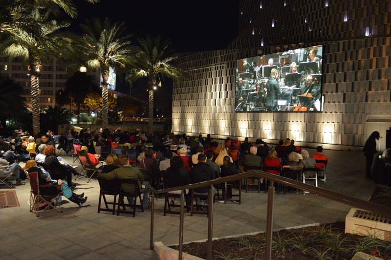 Attendees gather at the Tobin Center for the Performing Arts River Walk Plaza. Photo courtesy of the Tobin Center for the Performing Arts.