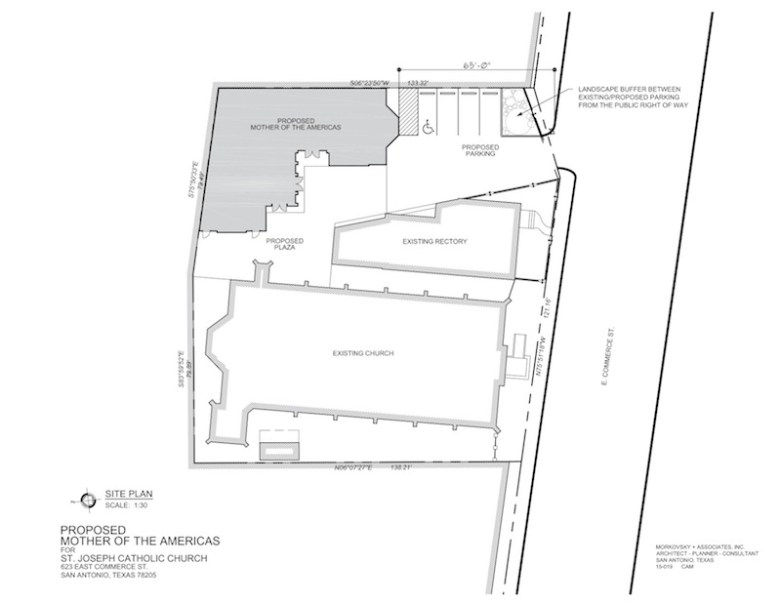 "Site plan for St. Joseph Catholic Church's new parish hall, ""Mother of the Americas."""