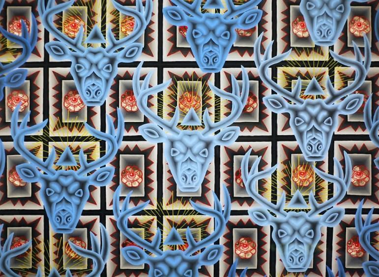 Blue Venado (2013), acrylic on Plexiglas by Jose Fidel Sotelo.