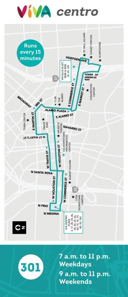 The VIVA Centro route. Graphic courtesy of VIA.