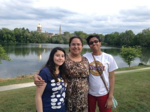 Yahteri-Anne Sykes Ortiz (r) visits Notre Dame with her mother (center) and sister. Courtesy Photo.