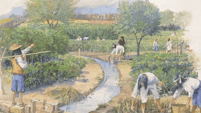 Rendering of acequia providing water to the farm fields of the missions. Photo courtesy of the National Park Service.