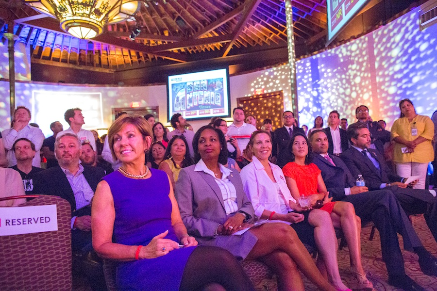 From left: City Manager Sheryl Sculley, Mayor Ivy Taylor, Councilwoman Shirley Gonzales (D5) and others listen to details about the new downtown tech high school. Photo by Michael Cirlos.