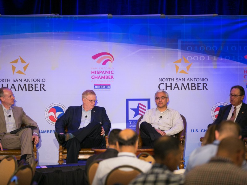 From left: Cybersecurity panelists USAA Chief Information Security Officer and Chief Privacy Officer Vice President Dave McDermitt,FS-ISAC Senior Director John South, Security Operations Center Global Head Delfim Martins, and Financial Services Roundtable Vice President Murray Kenyon speak about the state of cybersecurity in the financial services. Photo by Kathryn Boyd-Batstone.