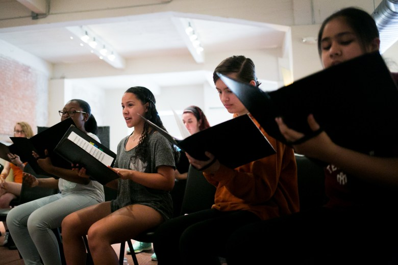 From left: Ashley, Elizabeth, Ellie and Emily sing a piece that will be performed at Carnegie Hall. Photo by Kathryn Boyd-Batstone.