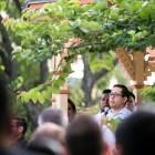 State Rep. Diego Bernal (D-123) speaks during the rally in Crockett Park. Photo by Kathryn Boyd-Batstone.