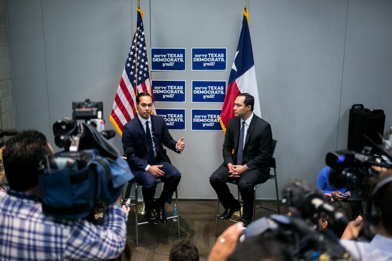 From left: U.S. Department of Housing and Urban Development Secretary Julián Castro and U.S. Rep. Joaquín Castro (D-Texas) comment on the 2016 Texas Democratic State Convention. Photo by Kathryn Boyd-Batstone.