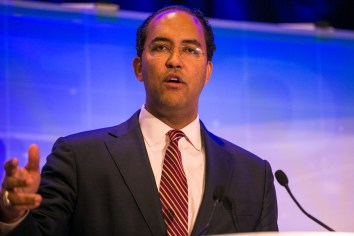 Representative Will Hurd (TX-23) gives the luncheon keynote at the Cybersecurity Conference. Photo by Kathryn Boyd-Batstone.