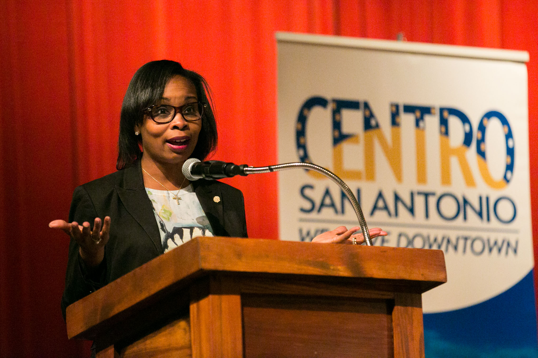 Mayor Ivy Taylor speaks about SA Tomorrow and she plans to create a comprehensive master plan about how the bond will play into the City's long term vision. Photo by Kathryn Boyd-Batstone.