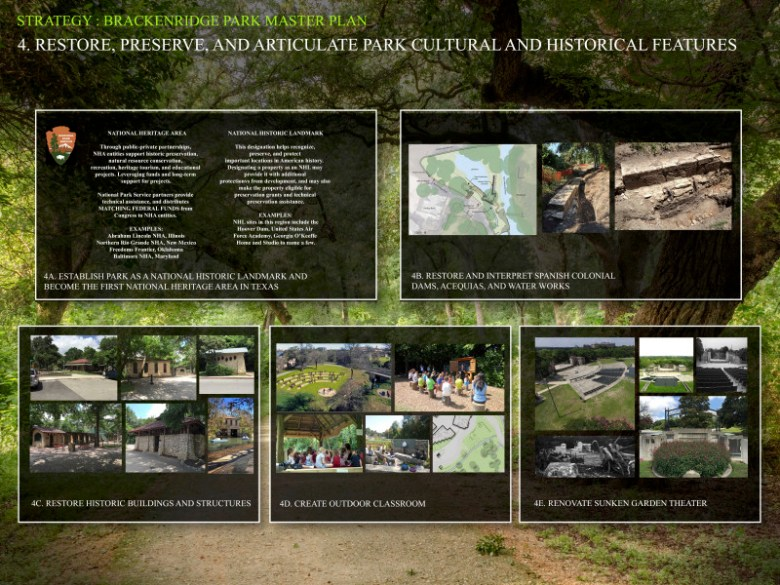 Strategy 4: Restore, preserve, and articulate park cultural and historical features. Graphics courtesy of San Antonio Parks and Recreation Department.