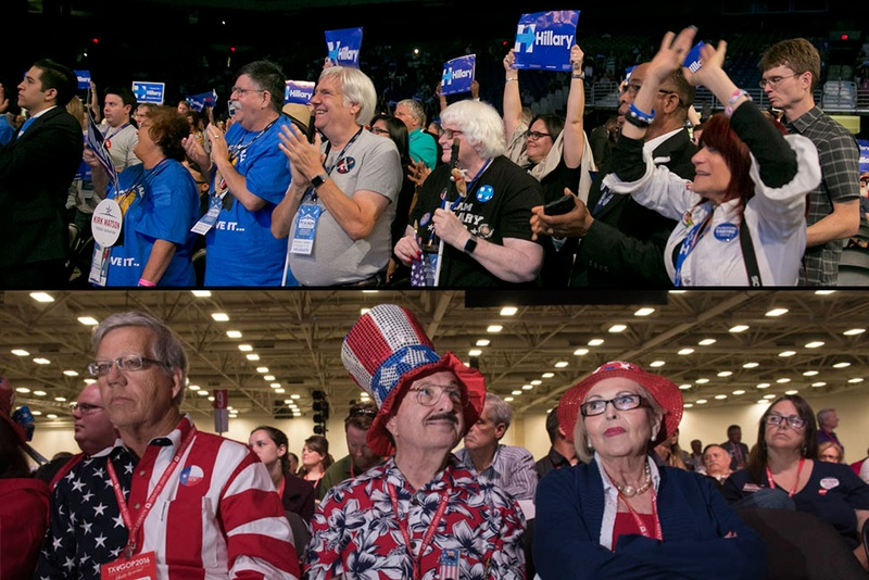 Attendees at the Texas Democratic Convention in San Antonio (top) and the Republican Party of Texas Convention in Dallas (bottom). Photos by Marjorie Kamys Cotera / Bob Daemmrich.