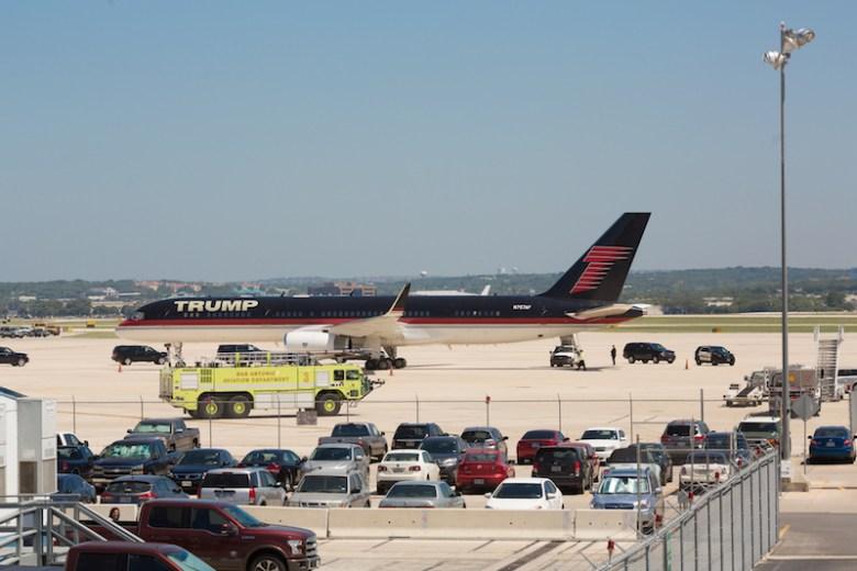 Presumptive Republican presidential nominee Donald Trump arrives at San Antonio International Airport on Friday.  Photo by Michael Cirlos.