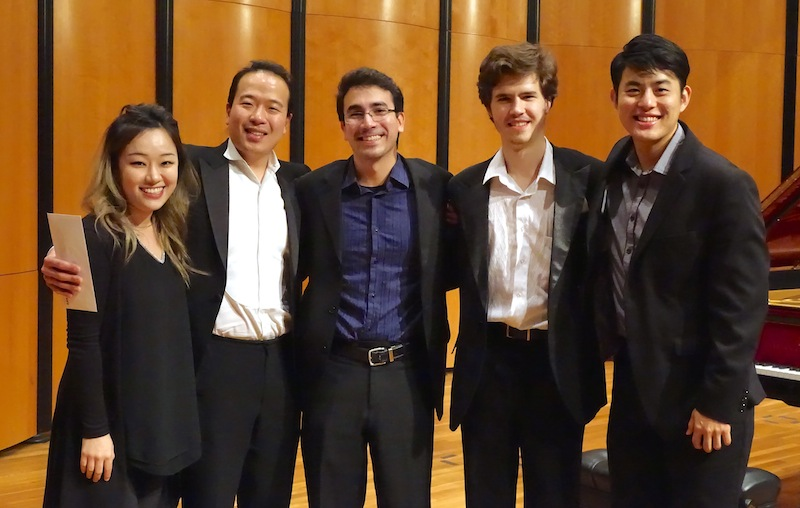 Finalists in the San Antonio International Piano Competition relax at its conclusion. From left: Saetbyeol Kim, Sung Chang, Scott Cuellar, Osip Nikiforov and Joseph Choi. Photo by Susan Riley.