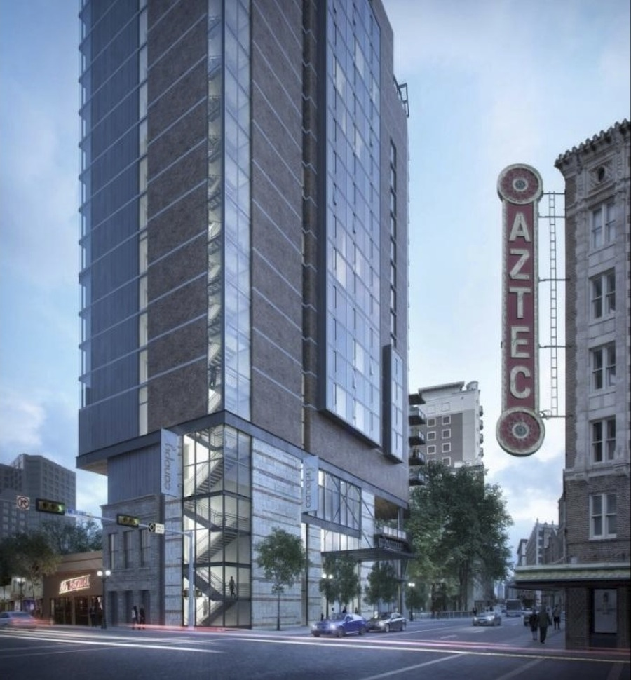 Renderings of Chris Hill's hotel on Commerce Street. Courtesy of Lake/Flato Architects.