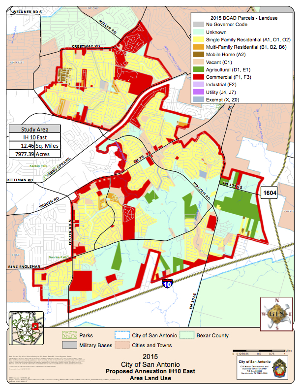 2015 City of San Antonio Proposed Annexation IH10 East. Courtesy of City of San Antonio.