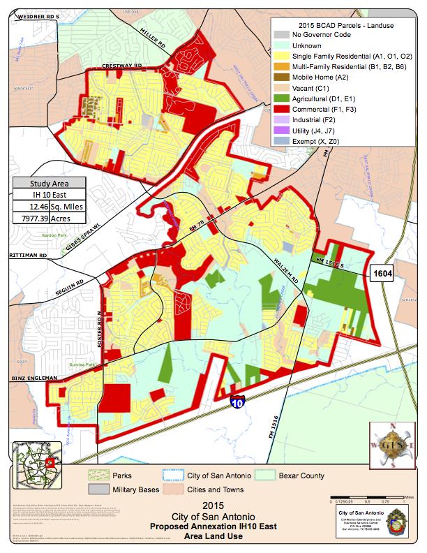 2015 City of San Antonio Proposed Annexation IH10 East. Courtesy of City of San Antonio.