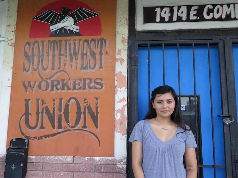 Denise Hernandez, founder of local organization Maestranza, will lead a peaceful protest with the Southwest Workers Union when Donald Trump visits San Antonio on June 17. Photo by Camille Garcia.