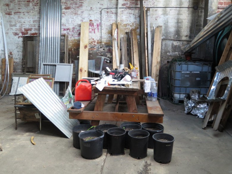 Gardening materials and other miscellaneous items are kept in the garden's warehouse. Photo by Rocio Guenther.
