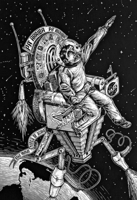 Juan de Dios Mora, Futura Nave Espacial Maya del 2012 (Future Mayan Spaceship of the Year 2012), 2011. Image courtesy of the artist.