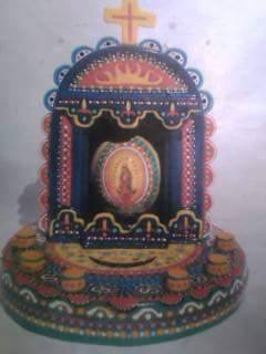 A closeup of Mary Agnes's virgen egg art. Photo courtesy of Maria Ines Rodriguez.