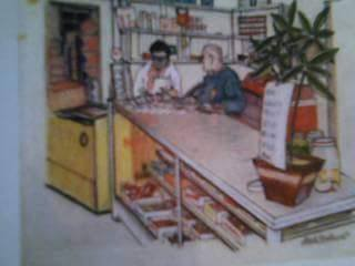 A drawing by Mary Agnes of Rodriguez Groceries. Courtesy of of Maria Ines Rodriguez.