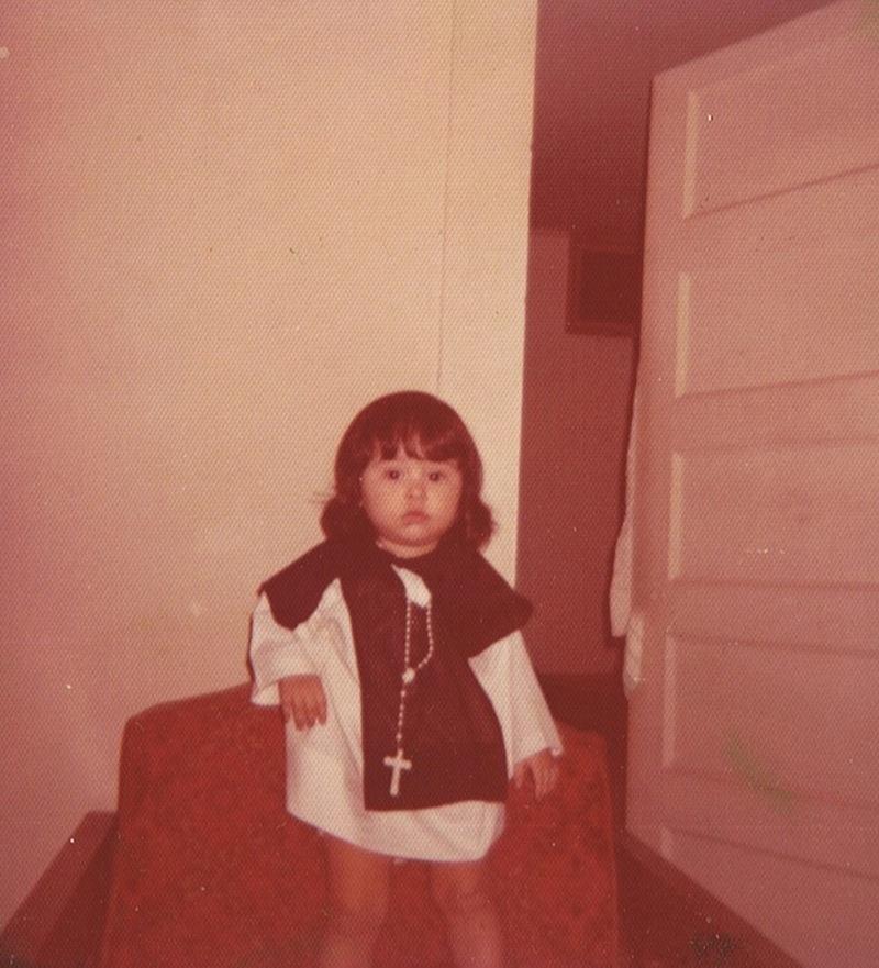 Marisela Barrera dressed up as San Martin de Porres, circa 1973 in Alamo, Texas.
