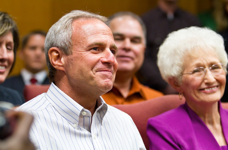 Michael Morton sits beside his mother, Patricia Morton, during an emotional press conference after a judge today agreed to release him on personal bond after he spent nearly 25 years in prison for the murder of his wife. Recently tested DNA indicates another man committed the 1986 killing. Photo by Callie Richmond for the Texas Tribune.
