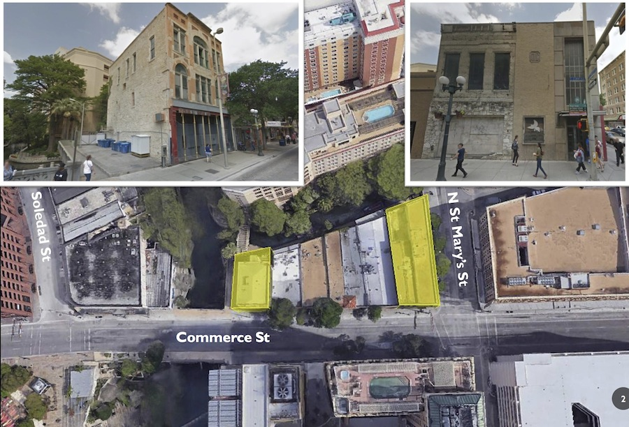 Site map of two properties on Commerce Street that will be redeveloped by owner Chris Hill. Graphic courtesy of the City of San Antonio.