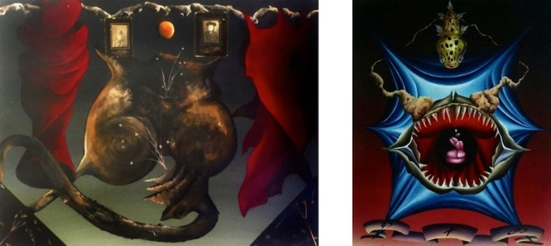 Left: Faces of Hunger, 2001, acrylic, collage on canvas. Right: Down the Hatch, 2006, oil on canvas, Collection of Dr. Angela Lee Boley.  Photos courtesy of the artist.