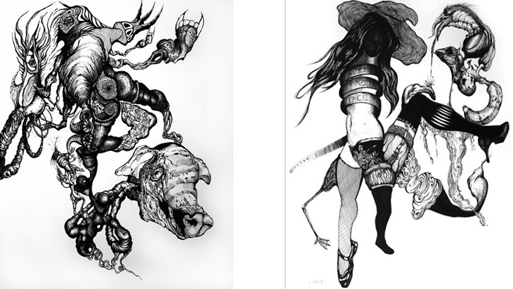 Left: Breeding of the Swine, 2014, ink on paper, Collection of Dr. John E. Martin. Right: Biological Crowdsourcing, 2015, ink on paper, Collection of Dr. John E. Martin. Photos courtesy of the artist Alejandro Augustine Padilla.