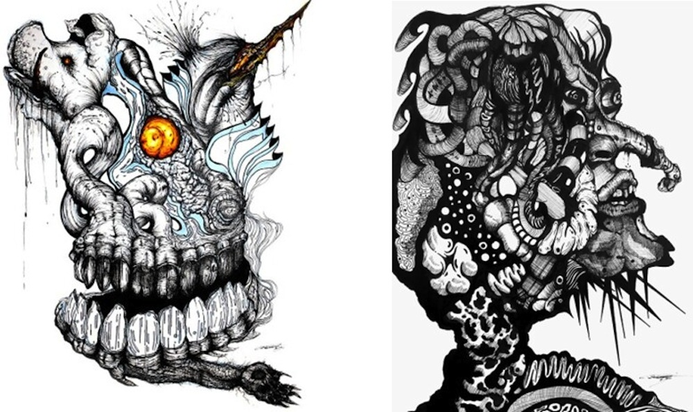 Left: Flesh Object V, Hog, Bird, Egg, Paw, 2014, ink on paper, Collection of Dr. Raphael and Sandra Guerra. Right: Agoraphobia, 2014, ink on paper. Photo courtesy of the artist Alejandro Augustine Padilla.