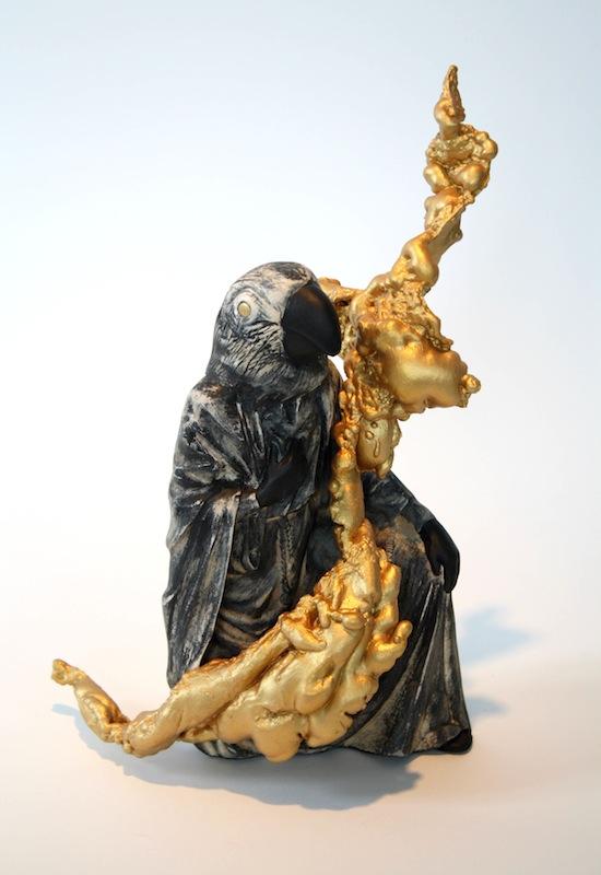 Bye Bye Black Bird, 2016, found statuette, spray foam, acrylic, by Alejandro Augustine Padilla. Photo courtesy of Ruiz-Healy Art.