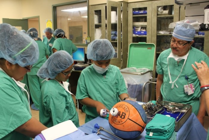 Students participate in robotic surgery at the North Central Baptist Hospital. Photo Courtesy of the San Antonio Youth Leadership Program.