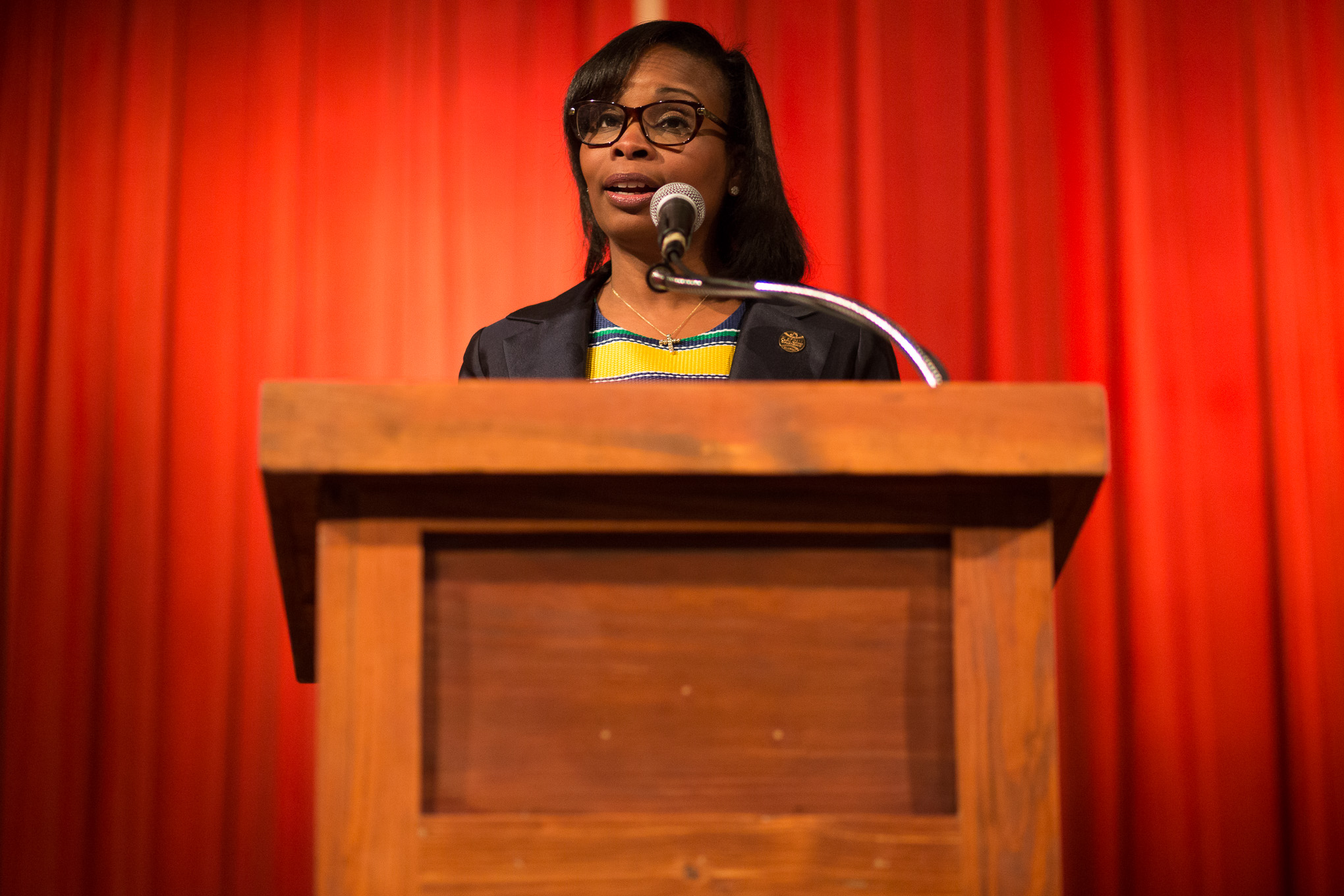 Mayor Ivy Taylor gives introductory remarks speaking to the impact baseball could have in San Antonio. Photo by Scott Ball.