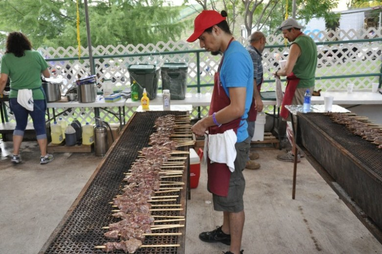 Shish kebabs on the grill. Photo courtesy of the Texas Folklife Festival