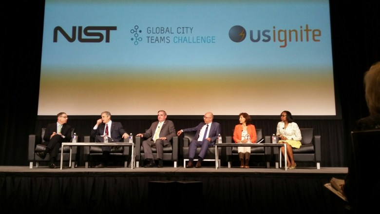 San Antonio Mayor Ivy Taylor (far right) joins a panel with four other mayors and Texas Tribune CEO Evan Smith (far left) at the Smart Cities Innovation Summit in Austin on Monday, June 13, 2016. Photo by Edmond Ortiz