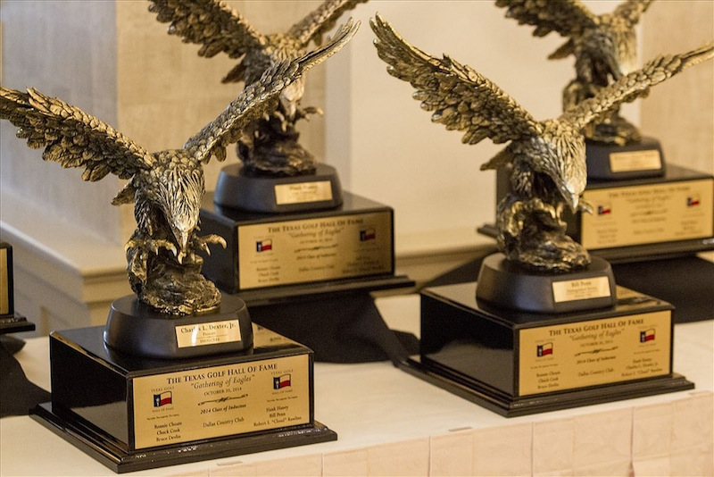 Trophies await presentation during the 2014 Texas Golf Hall of Fame award ceremony. Photo by Gary Perkins.