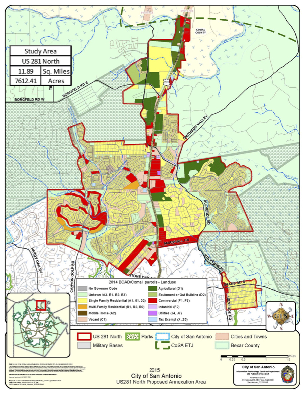 2015 City of San Antonio US281 North Proposed Annexation. Courtesy of City of San Antonio.