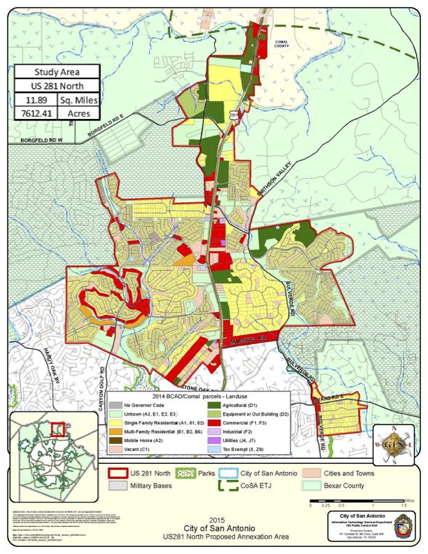 2015 City of San Antonio US281 North Proposed Annexation. Courtesy of City of San Antonio.