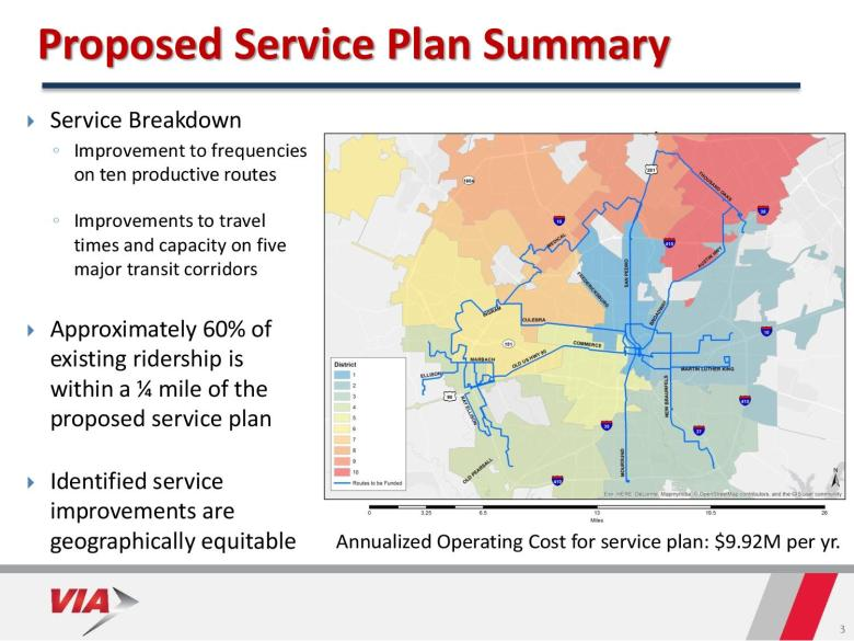 If $10 million were reallocated from the City's ATD funds, VIA Metropolitan Transit officials say it could enhance frequencies on 10 routes, seen here in blue. Image courtesy of VIA.