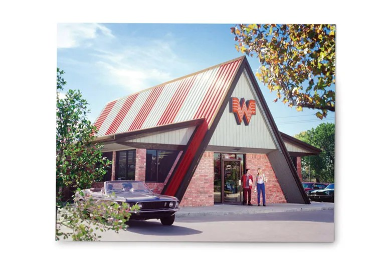 Newer Whataburgers retain the color and general massing of the original A-frame but are smaller in scale. Courtesy of Whataburger.