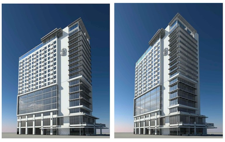 The proposed hotel and office tower at 100 N. Main Avenue. Rendering courtesy of JRK Design.