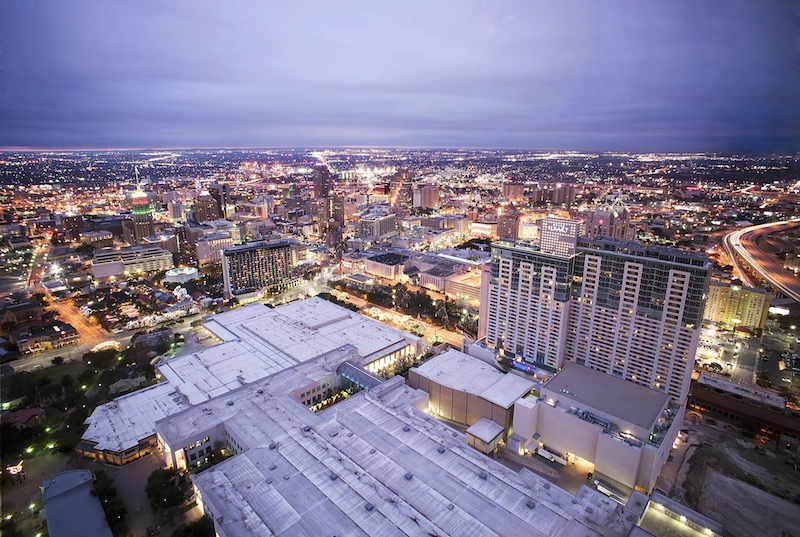 An aerial view of San Antonio's downtown. Photo by Katie Haugland via Flickr.