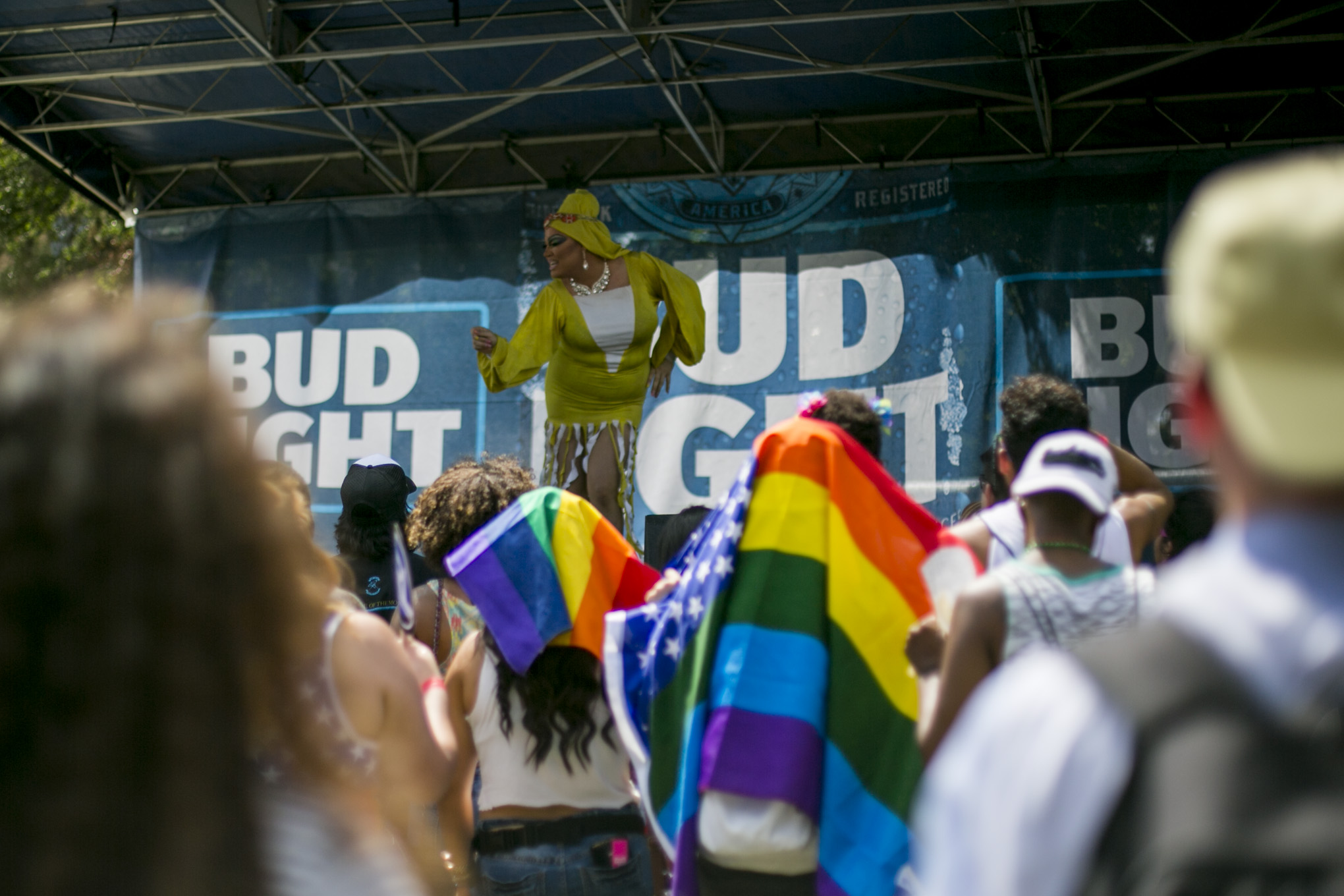 Dozens of local San Antonio performers sing and dance for the hundreds of Pride Festival attendees. Photo by Kathryn Boyd-Batstone.