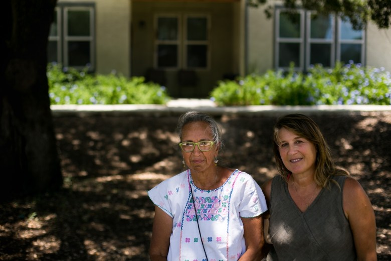 From left: Artist Dianna Rodriguez Gil and Donna Byrne were selected by the NRP Group and the San Antonio Housing Authority to create public art at the Gardens At San Juan Square. Photo by Kathryn Boyd-Batstone. Photo by Kathryn Boyd-Batstone.