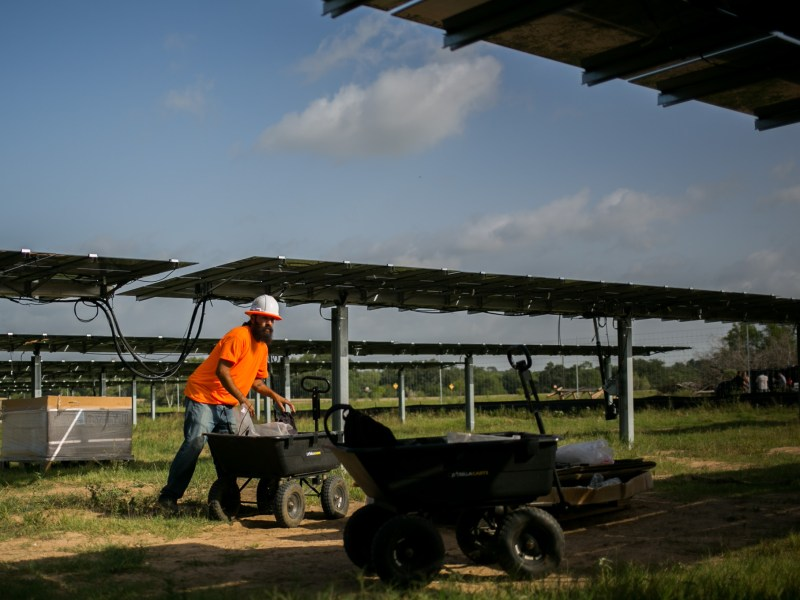 The site of the 11,280 panels, San Antonio's newest renewable energy asset, is located in Adkins, Texas. Photo by Kathryn Boyd-Batstone.