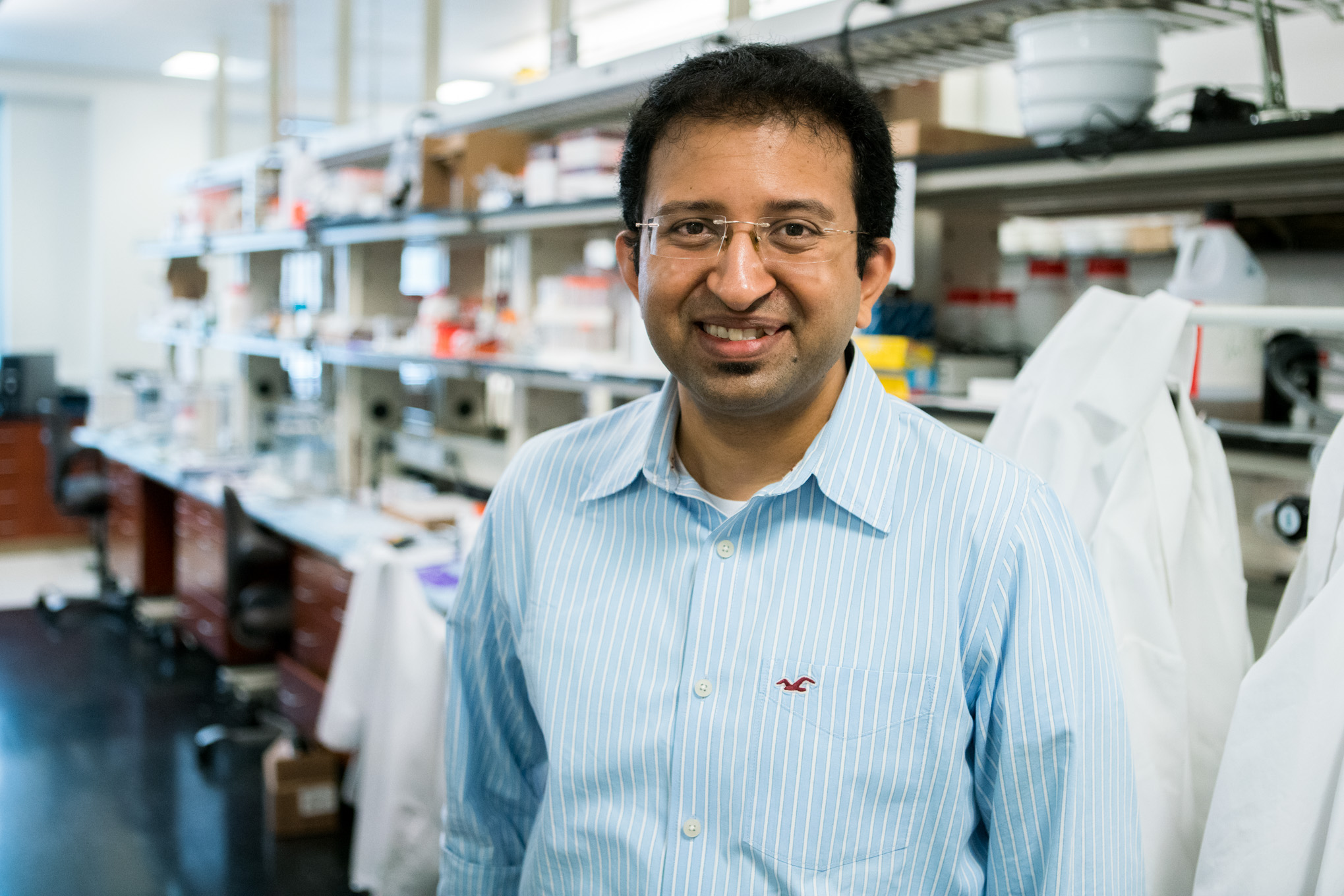UTSA assistant professor of Biomedical Engineering Teja Guda, PhD. and his team are developing a special silk and cell solution to create bioprints. Photo by Kathryn Boyd-Batstone.