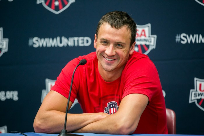 Olympic swimmer Ryan Lochte jokes about moving to Hollyood after his swimming career. Photo by Kathryn Boyd-Batstone.